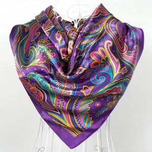 Primavera e Outono Feminino Satin Scarf, Big Square impressa lenços, Mulheres Scarf, roxo Polyester Silk Scarf Shawl 90 90 centímetros *