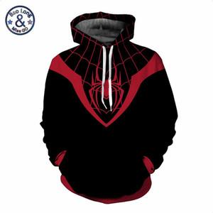 Süper kahraman Avengers 3 Spiderman Hoodies Örümcek Adam Venom Siyah Panter Thanos Kazak 3D Hoodie Kazak Cospaly Kıyafet