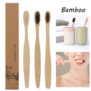 Cepillo de dientes de madera de bambú natural del cepillo de dientes de cerdas suaves de bambú natural de la fibra de bambú Eco mango de madera Cepillo de dientes envío