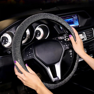 Protezione Anti Slip Steering Interior Car Wheel Cover Casa Moda antipolvere auto universale Easy Clean rotonda Bling strass