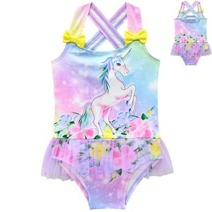Children unicorn print Swimwear 2019 summer Bathing Suit baby Bikini Kids One Pieces Swimsuit 3 colors C6486