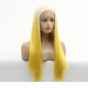L Ombre 613 #Blonde To Yellow Lace Front Wig Long Sikly Straight Soft Fiber Hair Heat Resistant Cosplay Party Wig For Women Wholesale P