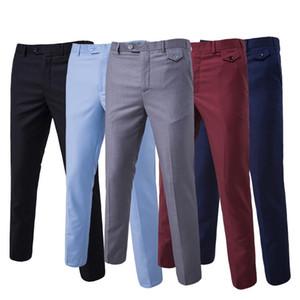 Puimentiua 2019 Nouveau Hommes Mode Coton Solide Couleur Pantalon de costume d'affaires / Hommes Groom Robe de mariée Costume Pantalons Hommes