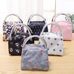 حقائب الغداء للنساء العزل الغداء مربع حقائب قماش حقائب نزهة الحرارية للماء حمل فلامنغو كوكتا