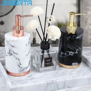 JINSERTA Marble Soap Dispenser Press Bottle Gold Home Hotel Bathroom Hand Sanitizer Shampoo Body Wash Decorative Bottle