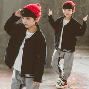 2020 New Style Boys Spring and Autumn Coat Childrens Big Children Loose Casual Jacket Embroidered Tooling Coat Coat Fashion