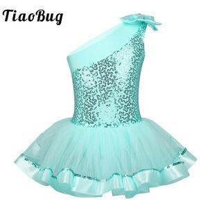 TiaoBug Kids Girls One Shoulder Ballet Tutu Dress Shiny Sequins Ballet Leotards Children Gymnastics Leotard Stage Dance Costume