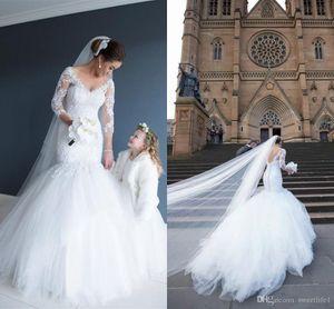 V Yaka Denizkızı Uzun Kollu Tül Aplikler Dantel Gelinlik 2020 Vestido De Novia Princesa Backless Gelinlik