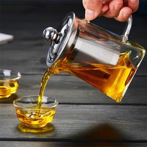 transparente hogar vidrio borosilicato tetera de acero inoxidable colador de té Infuser establecer resistente al calor casa de las hojas intercambiables Tea Pot