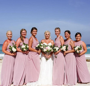 2020 Custom Made Chiffon Bridesmaid Dresses V Neck Sheath Pleats Ruffles Long Evening Gowns For Maid Of Honor Prom Dress