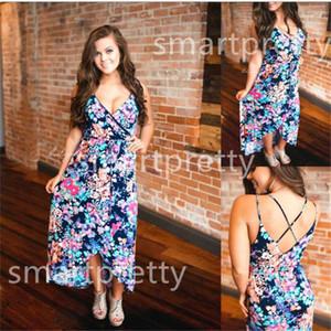 Women's Floral Long Dress Sleeveless Backless Boho Maxi Dresses 2020 Summer Evening Gown Party Bohemian Dress Sundress Casual Dress LY331