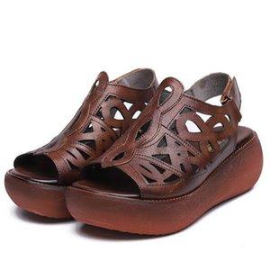 الأكثر عصري الرجعية سميكة سوليد أسافين الصنادل النساء الأحذية 2021 الأكثر مبيعا أحدث الراحة جوفاء جلد طبيعي أحذية النساء الصيف الصنادل