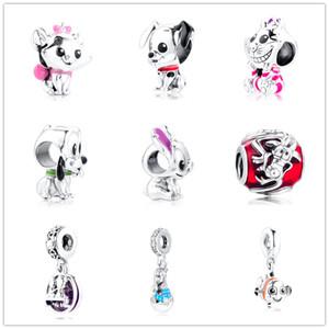 día de 2020 nueva madre 100% 925 encantos de plata de ley de dibujos animados DIY pulseras Fit Charm Colgante ratón brazaletes de la joyería al por mayor de regalo de las mujeres
