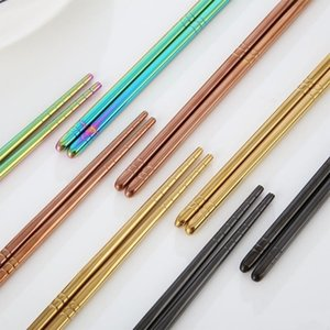 Resuable Household Chopstick Thick Stainless Steel Chopsticks Resistance To Fall Not Rusty Flatware Eco Friendly High Grade