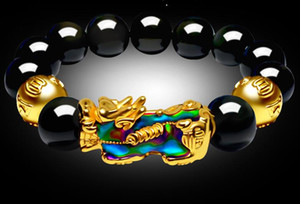 cambio de color PI xiu pulsera de estado de ánimo Obsidiana dorada PI xiu hombres y mujeres estilo cuerda roja pulsera de cuerda a mano