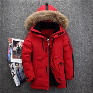 Manteau d'hiver de haute qualité -40 degrés résistant au froid Russie hiver veste hommes top qualité véritable col de fourrure chaud duvet de canard blanc