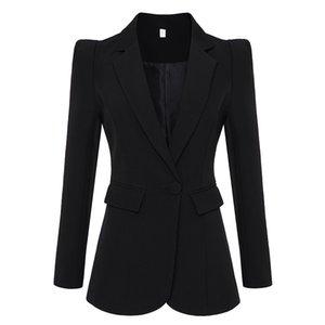 Heiße Marken-Art-Top Qualität Original Design Frauen Personality dünner Blazer-Jacken-Schulter-Blazer mit einem Knopf Outwear Schwarz Weiß