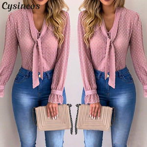 Mulheres Blusas Moda manga comprida V-neck Pink Shirt Chiffon Escritório Blusa Magro Tops Casual Plus Size S-5XL