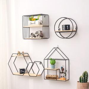Melhor Ouro de madeira de armazenamento Racks Hanging Decor Caixa de armazenamento Pot Flower House Armazenamento rack de parede Livro Figurines prateleiras de exposição de artesanato