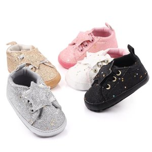 First Walkers Newborn Baby Boy Girl 0-18M Pram Shoes Infant Sneakers Toddler PreWalker Colorful Sequin Stars Trainers