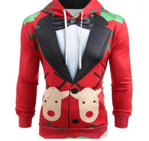 Tuch Homme dünne beiläufige Tops Designer Mens lustige Art Hoodies Weihnachts Anzug Muster-Druck-Hut-Kragen