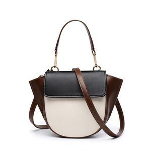 Couro de Pop2019 Mulheres Genuine Tempo Oblique Satchel Rua Vento Asa Pacote Joker Único Shoulder Handbag