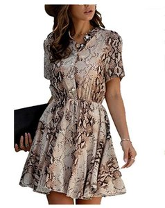 Manches courtes col Stand Robes Mode Party Robes Femmes Designer Femmes Robes Divers Imprimé Bouton Slim Casual Tether