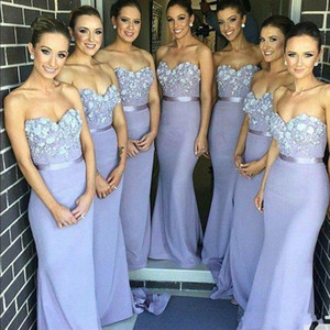 2019 New Elegant Lilac Long Mermaid Bridesmaid Dress Sweetheart Appliques Beaded Maid of Honor Dress Off Shoulder Bridal Gowns 1047