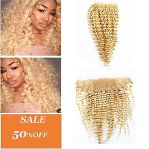 A Deep Wave 4x4 Hair Piece 13x4 Hair Closure Ear To Ear Lace Frontal Brazilian Peruvian 100 %Human Remy Hair Color 613 10 -20 Inches