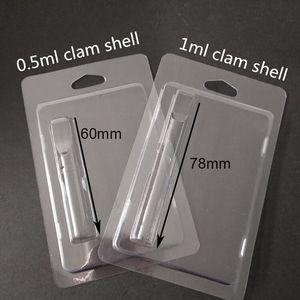Empaquetado al por menor plástico Clamshell concha de almeja envases de plástico de 1,0 ml de aceite de Vape cartuchos 92A3 G2 th205 vapor de embalaje 510 Cesta de embalaje