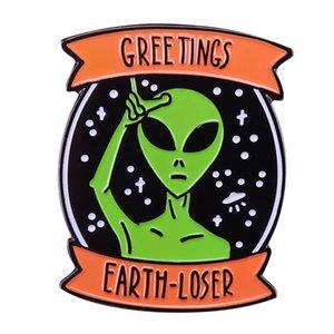 Extranjero saludos Earth-loser badge insignia ciencia ficción humor ET pin cool geek accesorio