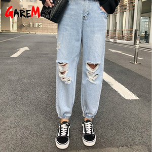 GareMay vita alta Harem dei jeans per le donne Caviglia-Lunghezza Denim Pants Loose Women Ripped foro jeans elastico in vita Haerm Pants