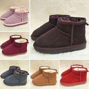 UGG Boots HOt продают Brand Детская обувь для девочек Сапоги зимние Теплый лодыжки малышей мальчиков сапоги обуви детей снега сапоги Детская Плюшевые Теплый обуви