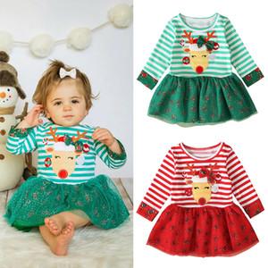 Baby Weihnachten Kleid Kinder Langer Ärmel gestreifter deer Elk Druck-Prinzessin-Kleid-Spitze-Tulle-kurze Rock-Weihnachtskinderkleidung M654