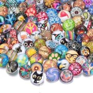 100pcs / lot scatto vetro 18 millimetri misto button vetro gioielli scatta misura i monili braccialetto a scatto