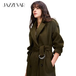 JAZZEVAR 2019 Autumn winter New Women's Casual wool blend trench coat oversize Double Breasted X-Long coat with belt 860504 T200110