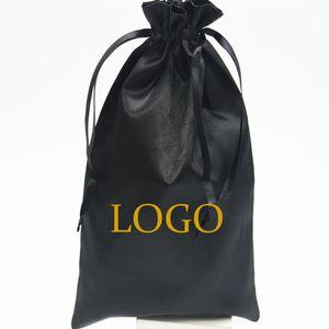50PCS di lusso Borse Nero raso Confezione regalo dei capelli parrucca di estensione sacchetto personalizzato Logo coulisse Borse 18x30 / 30x40cm Astuccio