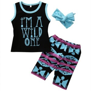 2-7Y Toddler Kids Baby Girl Clothes Set 2017 Summer Sleeveless Arrows Letter Print Child T-shirt Tops +Shorts Bottoms 3PCS Suit