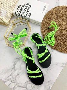 Роскошные женские дизайнерские сандалии Fluo Green Low-Heel Sandal Classic натуральная кожа резиновая подошва шнурки сандалии Женские туфли на платформе