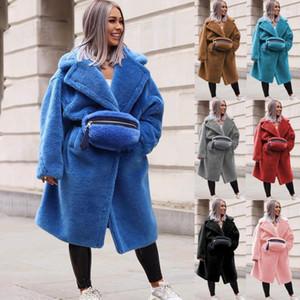 Gruesa chaquetas color sólido a largo Diseñador Mujer abrigos de invierno de las mujeres Cordero caliente