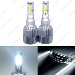 In allen One-Auto-LED-Scheinwerfer 2-COB 6500K 72W 7600LM H4 Hallo-Lo Beam-LED-Lampe Foglight Scheinwerfer # 2886