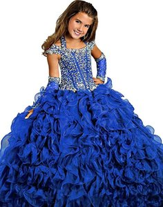 2020 Gorgeous Purple Ball Gown Pageant Gowns For Girls Beaded Halter Neck Lace-up Back Organza Ruffles Floor-length Flower Girls Dresses