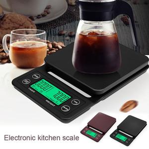 3 kg 5 kg / 0.1g LCD Digital Peso café pesas portátiles mini equilibrio electrónico de temporizador de cocina del alimento del café Escala Negro Marrón