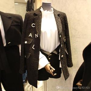 neue Frauen drehen unten Federkragen Tweed Wollstoff Verdickung Langhülse Mittel lange OL-Blazer-Mantel casacos SMLXLXXL TY0Q