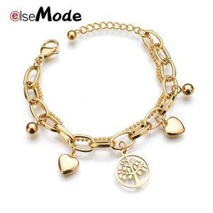 ELSEMODE Tree of Life Love Heart Edelstahl-Armbänder für Frauen Gold Bracelet Schmuck Weihnachtsgeschenk Pulseras Mujer Moda