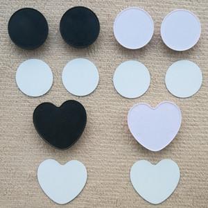 Round Support de téléphone cellulaire en forme de coeur avec Groove blanc en aluminium Sublimation Insert sur mesure sur mesure Grip téléphone stand Mount Holder