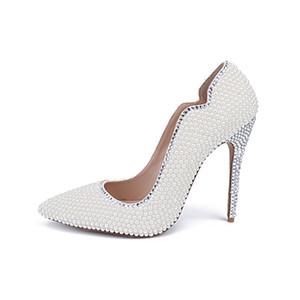 Amazing2019 Pearl White Summer con Sharp Single Shoe Wedding Banquet Evening Party Scarpe col tacco alto