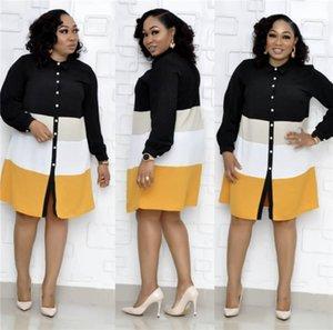 Свободные женщины рубашки платья Африка способа печати платье с длинным рукавом нагрудные Шея мини-платья летние Casual Женщины Дизайнерская линия, платья