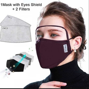 Free Shipping Cotton Mask With Eye Sheild Eyes Protection Face Mask PM2.5 Full Cover Washable 2 Layers Cycling Mask