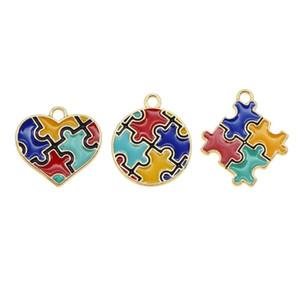 Alliage émail Puzzle Piece Puzzle Pendentif coloré ronde en forme de coeur Amis cadeau unisexe sensibilisation à l'autisme Collier Charms bricolage
